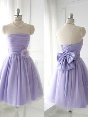 Fascinating Lilac Bowknot Ball Gown Strapless Mini Bridesmaid Dress
