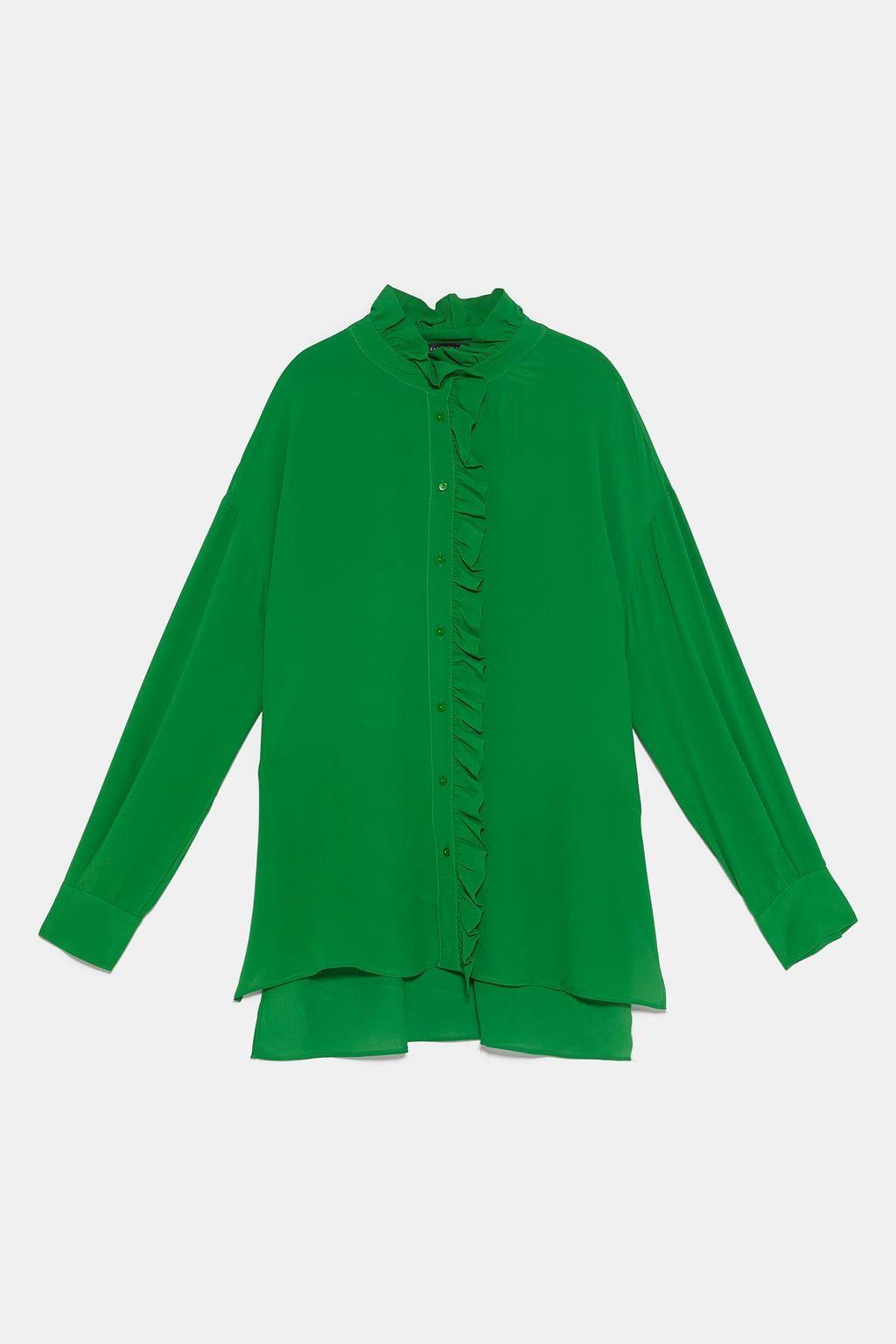 Bluza Iz Struyashejsya Tkani S Volanami Prosmotret Vse Rubashki I Bluzy Zhenshiny Zara Kazahstan Bluz Zara Gomlek
