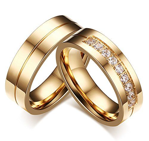 Robot Check Stainless Steel Wedding Ring Stainless Steel Wedding Bands Couple Rings Gold