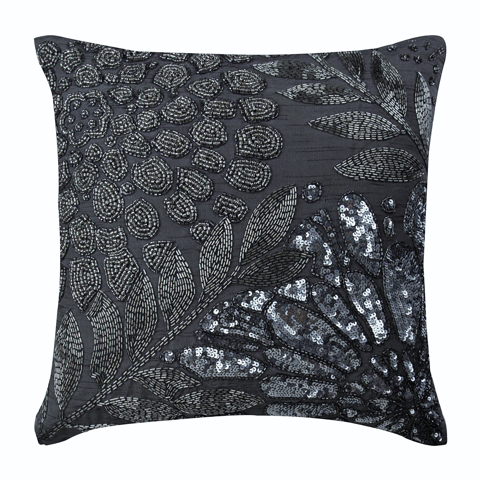 Decorative Gray Couch Cushion 12 X12 Art Silk Throw Pillow Cover Sequins Cushion Pillow Nature Floral Home Decor Grey N Silver Garden Floral Pillow Cover Silk Pillow Cover Grey Pillow