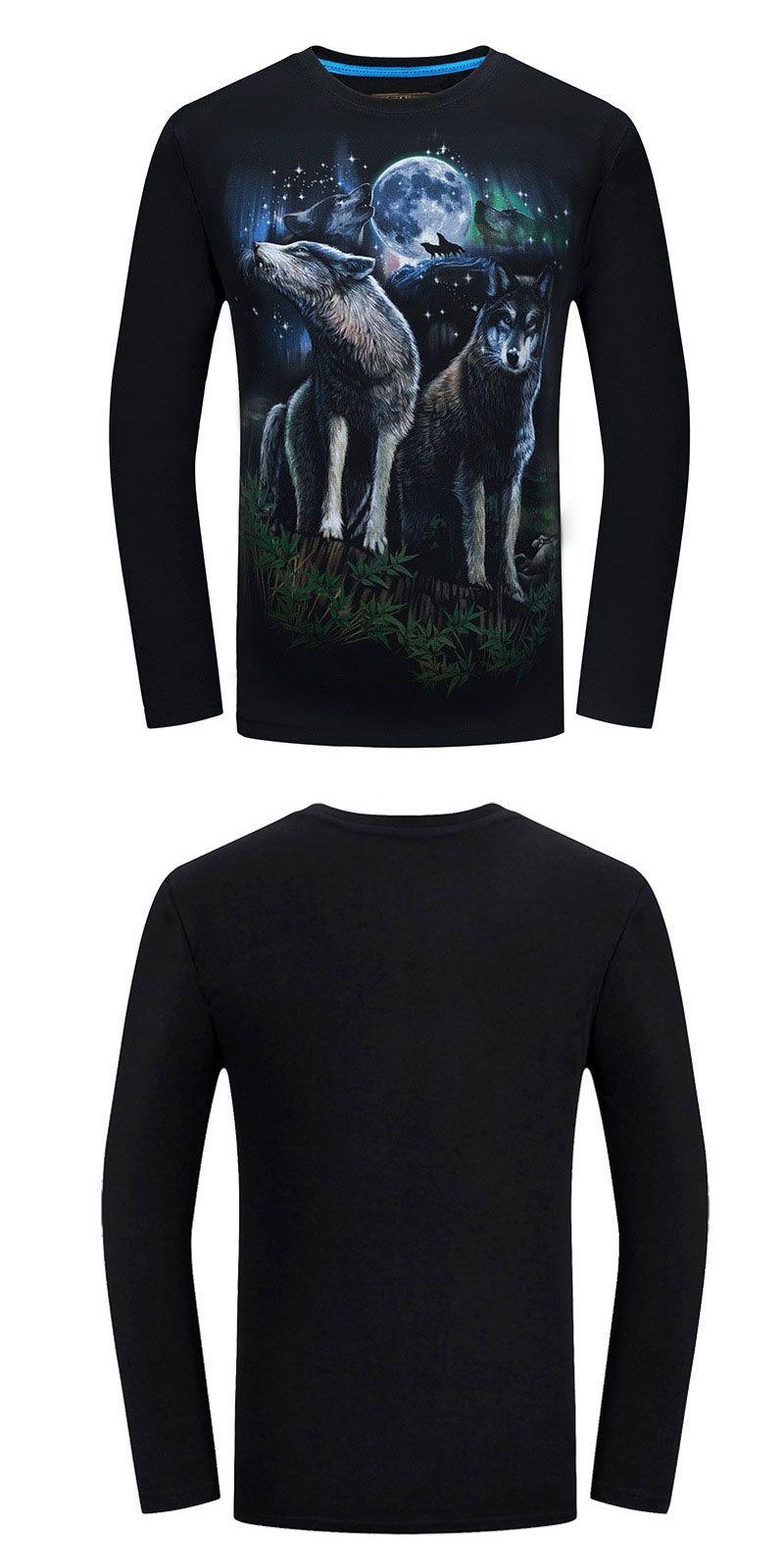 f831040cc0a8 FJUN Wolf T Shirt Men Shirt Long Sleeve 3d Print T-shirt Galaxy Mens ...