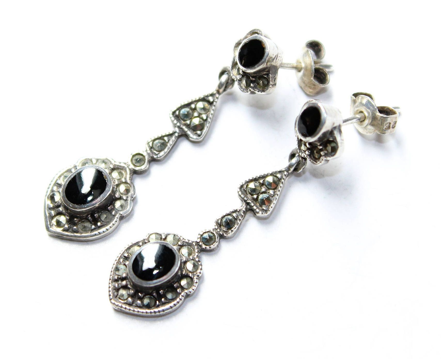 Body piercing earrings  Sparkly Marcasite Black and Silver Coloured Dangle Drop Vintage