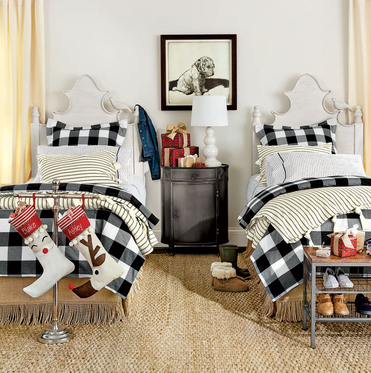 Bedrooms Ticking Stripe Twin Beds And Twins