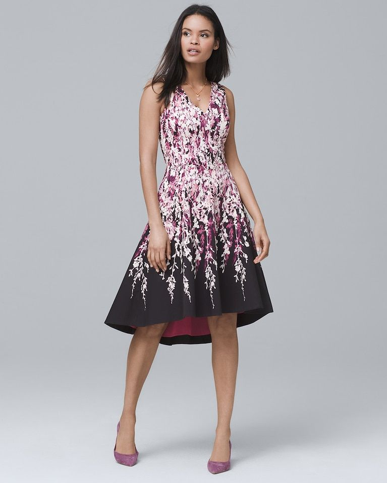 afcf087f4 Women's Floral-Print High-Low Fit-and-Flare Dress by White House Black  Market