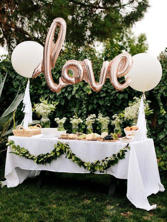 LOVE script- Rose gold Mylar Balloons and 2 White 36 round balloons set