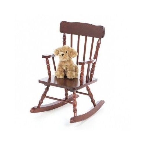 Kids Wood Rocking Chair Cherry Seat Small Armrest Nursery Playroom Solid  Sturdy