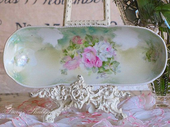 pretty antique german pink rose celery dish shabby chic porcelain germany stacy 39 s shabby. Black Bedroom Furniture Sets. Home Design Ideas
