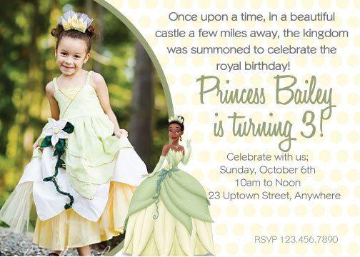 DIY Princess Tiana Birthday Invitation