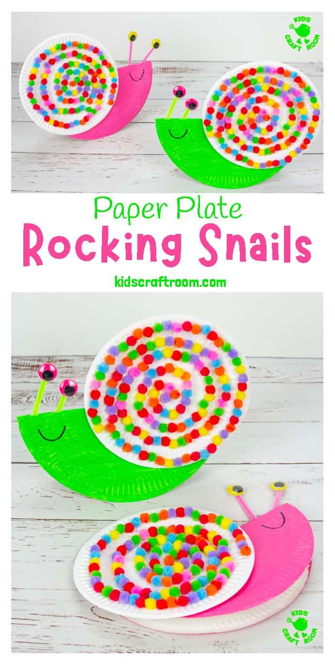 Rocking Paper Plate Snail Craft Snail Craft Paper Plate Crafts For Kids Kids Craft Room