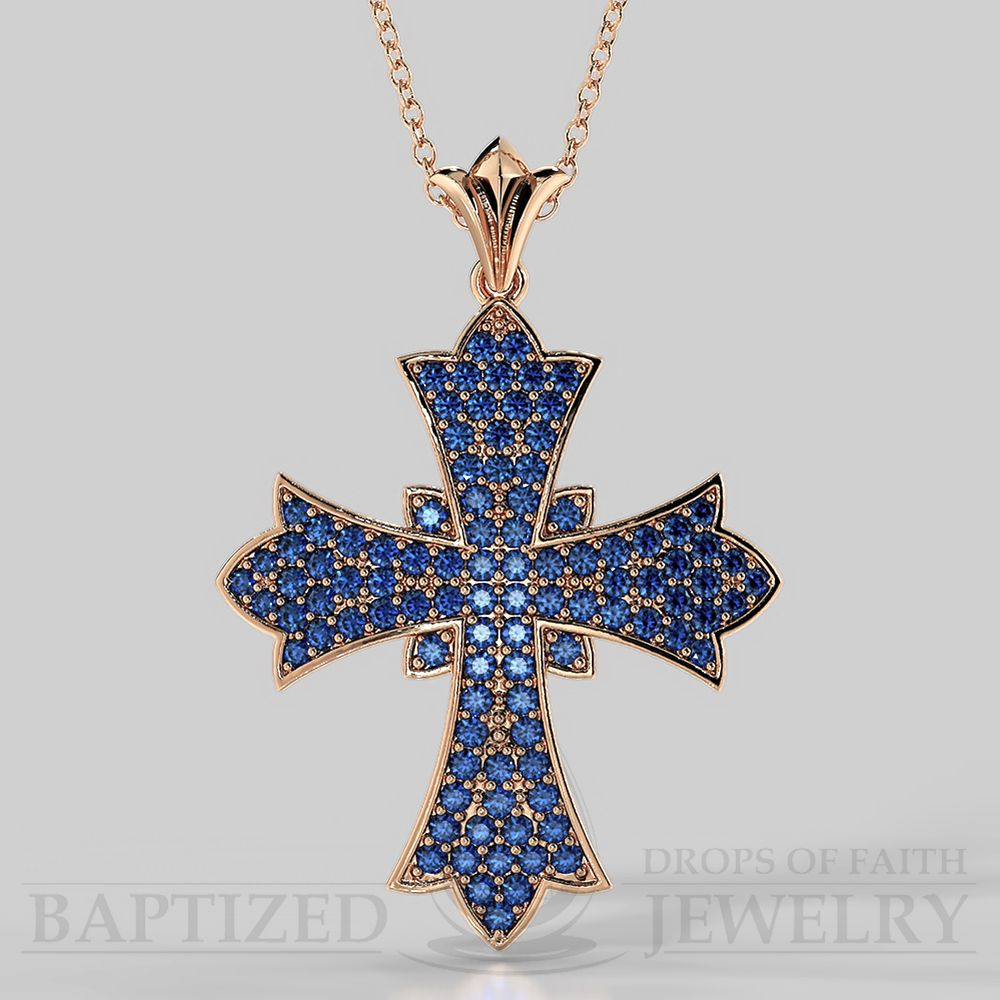 Wide Full Cross Pendant with Blue Sapphire in a Rose Gold Chain