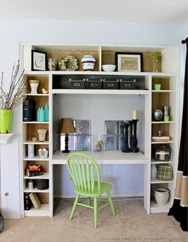 Nothing Fancy Here Just Straight On Desk With Shelves Around It Maybe Incorporate A Desk Into The Built In Bookshelves Diy Home Decor Ikea Bookshelves