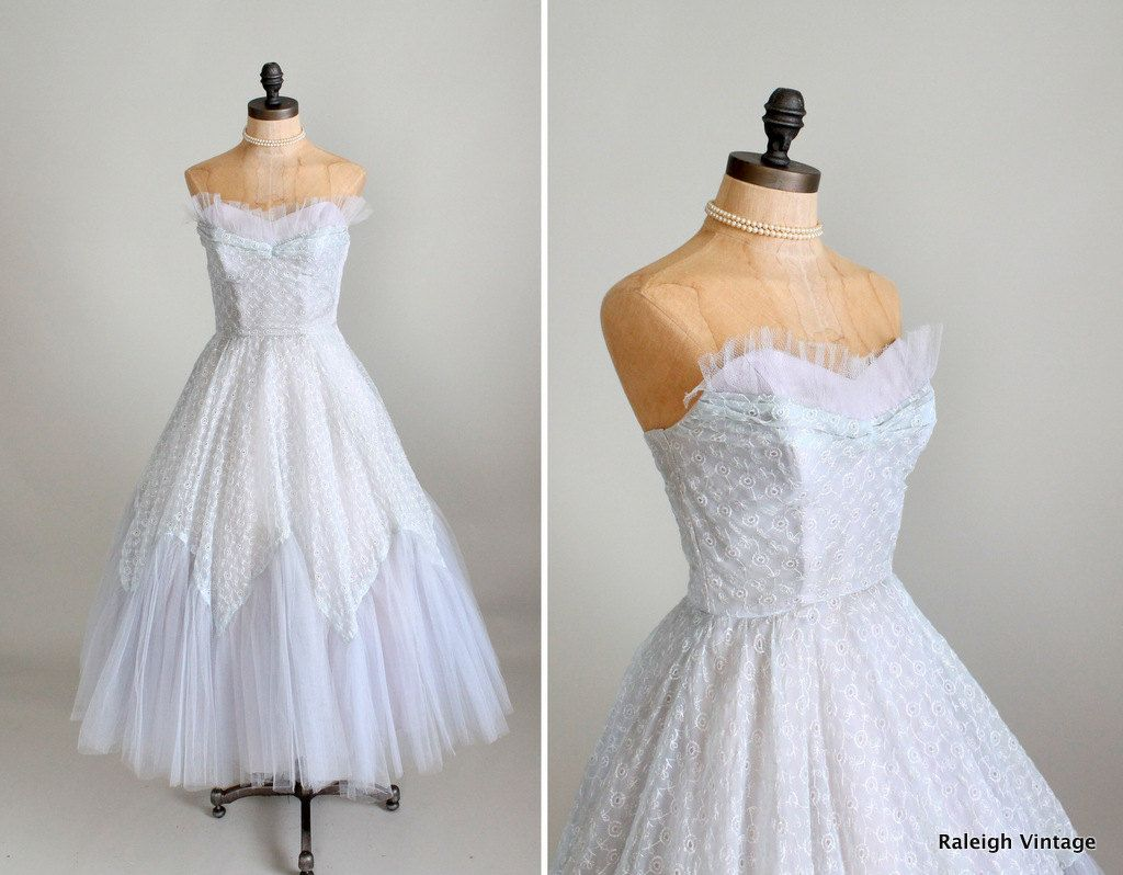 Vintage 1950s Prom Dress : 50s Ice Blue Tulle and Lace Prom Dress ...