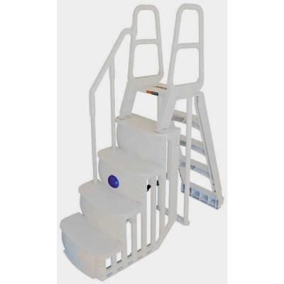 Main Access Step Ladder System For Above Ground Swimming Pool With Led Light 200680r The Home Depot Above Ground Pool Ladders Above Ground Swimming Pools Pool Steps