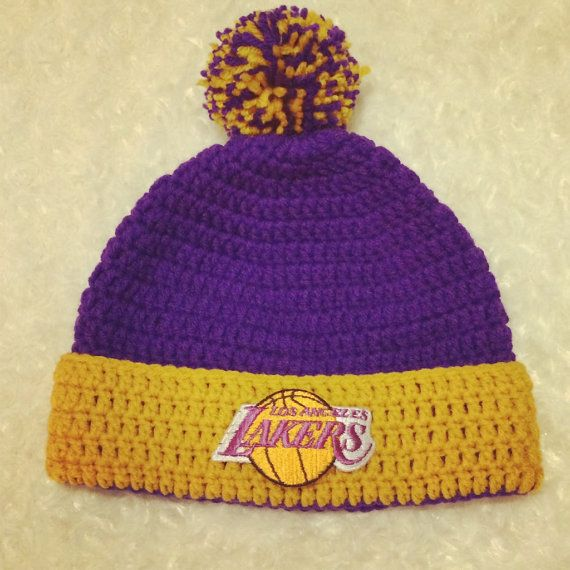 99b6f39dd9865f NBA Beanie/Hat with trim and Pom Pom Photo Prop for any basketball team of  your choice (Los Angeles Lakers) Newborn - Adult Size on Etsy, $16.00