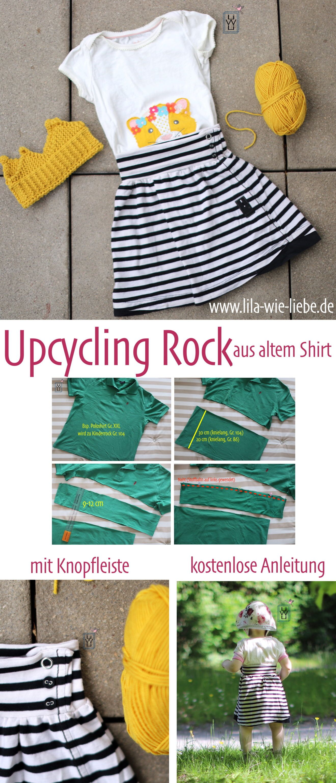 Kinderrock mit Knopfleiste aus altem Shirt nähen - Upcycling - kostenlose Anleitung - Lila wie Liebe