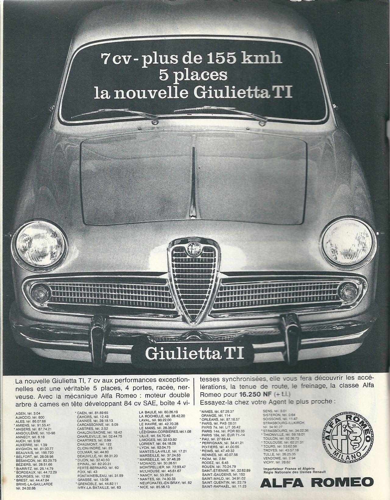 Alfa Romeo Guilietta Ti Publicite Sport Auto N 6 15 Juin 15 Juillet 1962 Automobile Auto Alfa Romeo