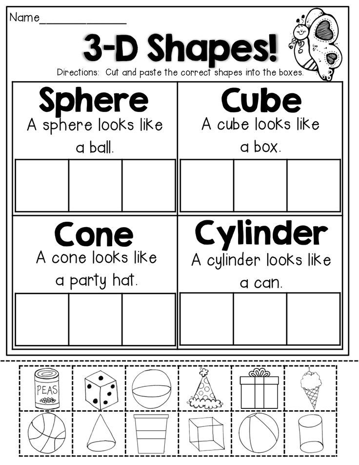 {Shapes Cut paste and sort – 3d Shapes Kindergarten Worksheets