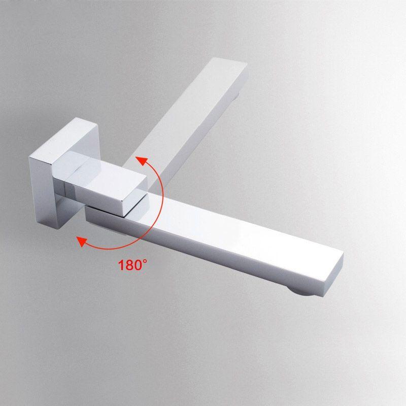 Bathroom Bathtub Faucet 180° Swivel Wall Mount Tub Filler Spout Mixer Tap Chrome