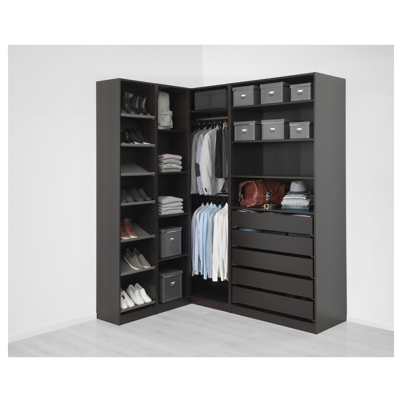 Dressing De Coin Ikea pax corner wardrobe - black-brown 63 1/8/73 7/8x93 1/8