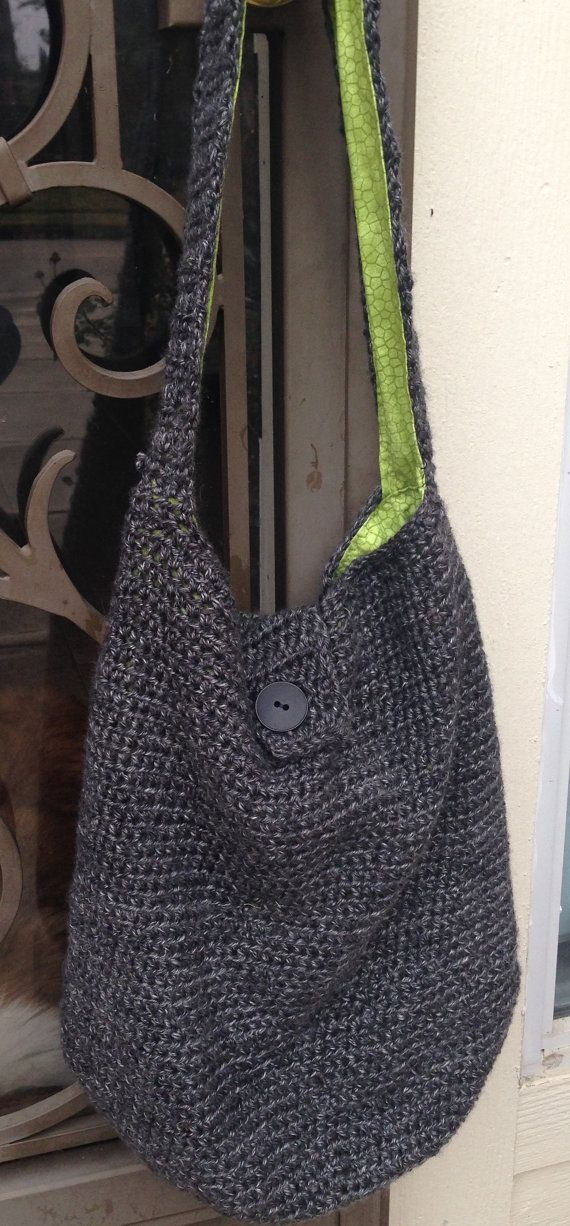 Handmade Crocheted XL Hobo Bag In Tweedy Gray Lions Brand Heirloom Best Crochet Hobo Bag Pattern