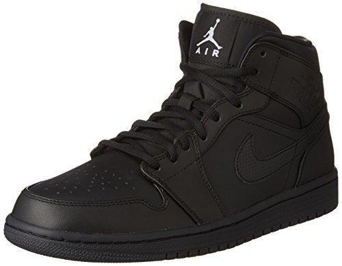 8fe6a6de47d0 ... Black Nike Mens Air Jordan 1 Retro Mid Basketball Shoe BlackWhite 12 ...