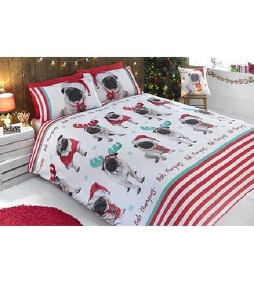 Christmas Pug Dog Bedding Set Duvet Cover & Pillowcase Single Double Kids xmas
