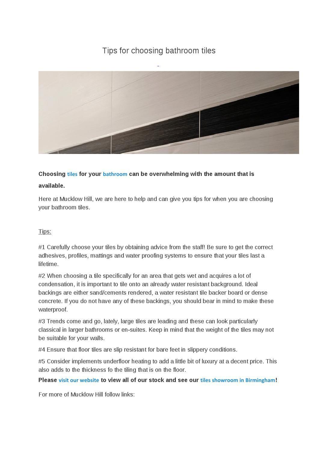 Tips for choosing bathroom tiles | Ideas for the House | Pinterest ...