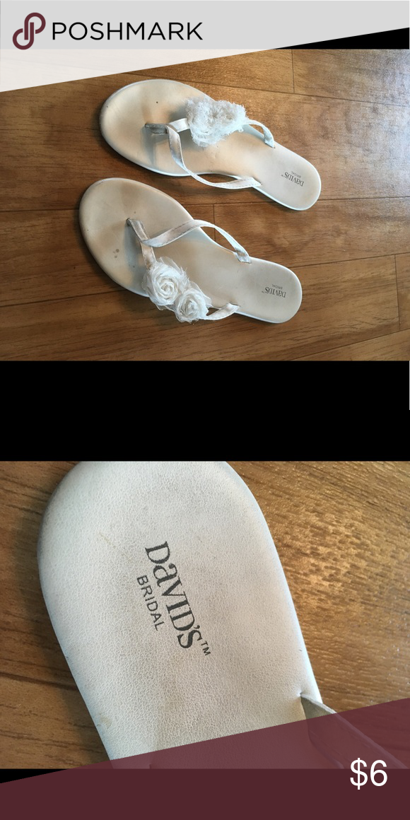 Cream Color Wedding Flip Flops Sandals Used For A Davids Bridal Shoes
