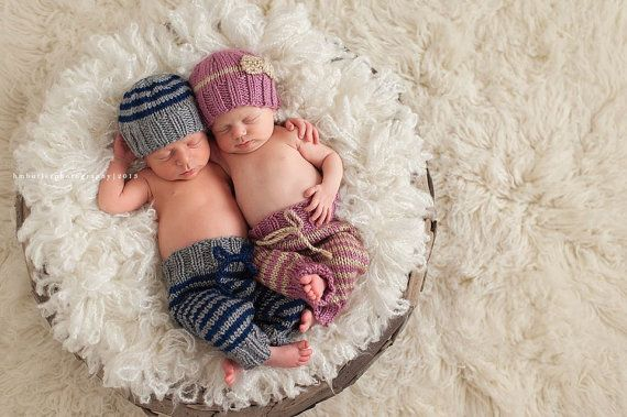 Boy girl twin cozy baby set hats and pants newborn photography props navy gray pink cream