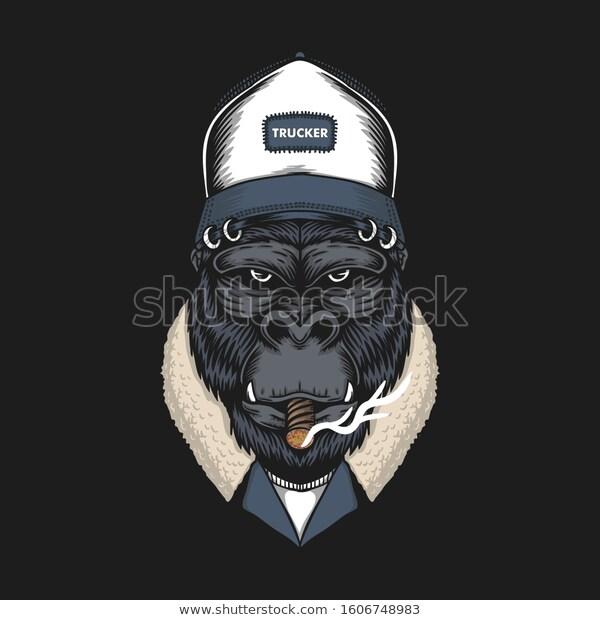 Gorilla Head Trucker Vector Illustration Your Stock Vector Royalty Free 1606748983 Gorilla Illustration Vector Illustration Gorilla