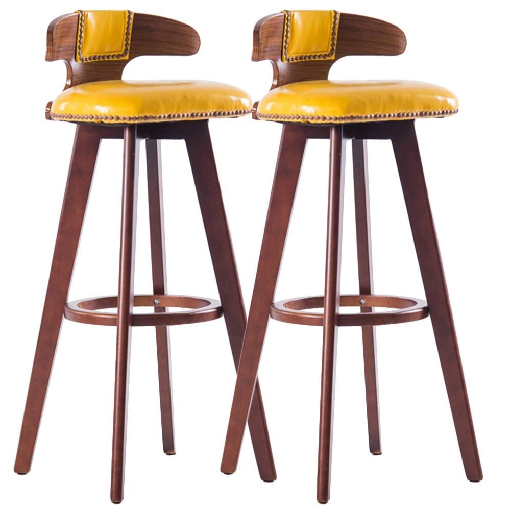 Liqicai Wooden Bar Stool Set Of 2 With Faux Leather Seat And