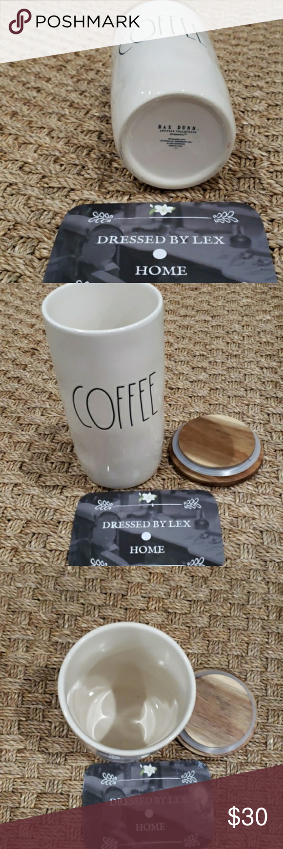 Photo of NWT HTF Rae Dunn COFFEE canister with wood lid Brand New • Firm Rae Dunn by Ma…