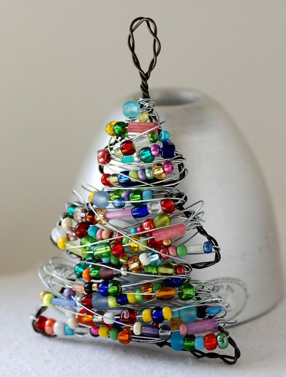 Beaded Christmas Tree, Christmas Ornament, Wire Tree, Christmas Tree Ornament, Hostess Gift, Unique Tree Ornament, Colorful Ornament