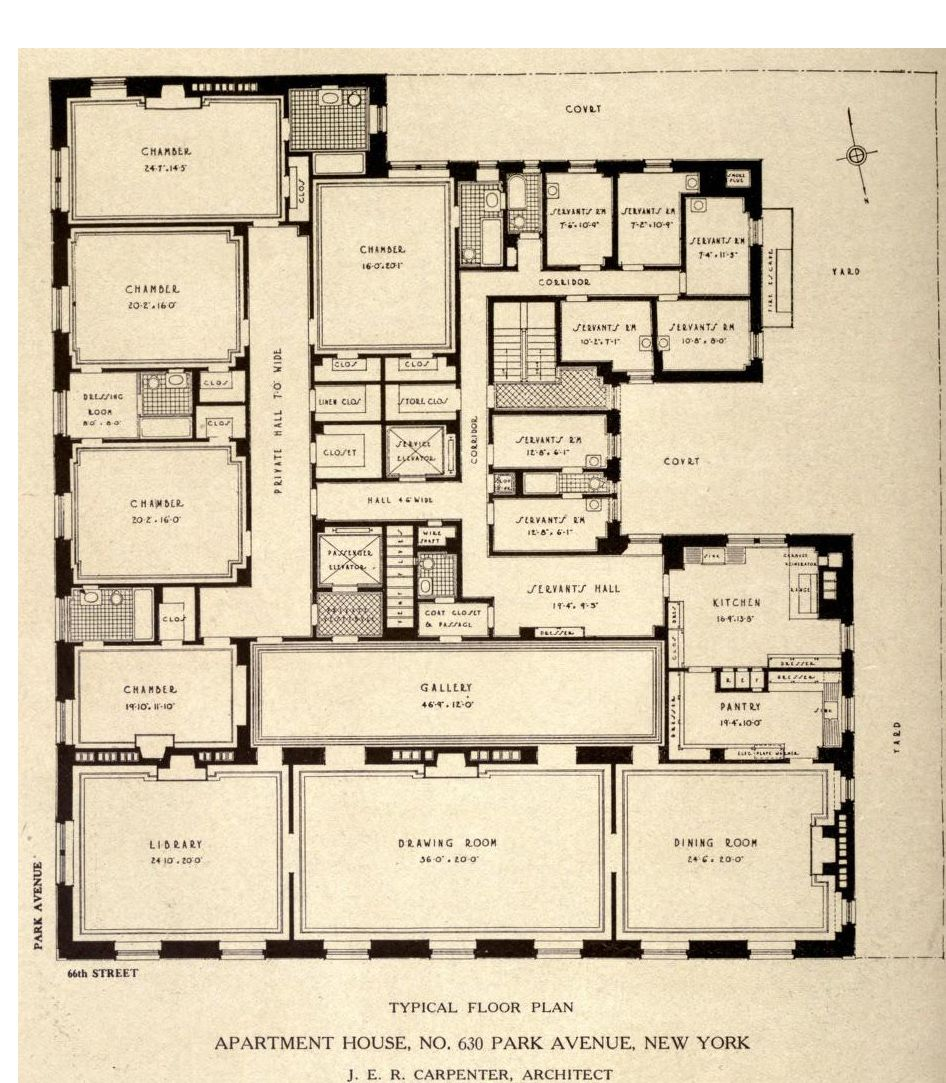 Typical Floor Plan For 630 Park Avenue New York Vintage House Plans Floor Plans House Floor Plans