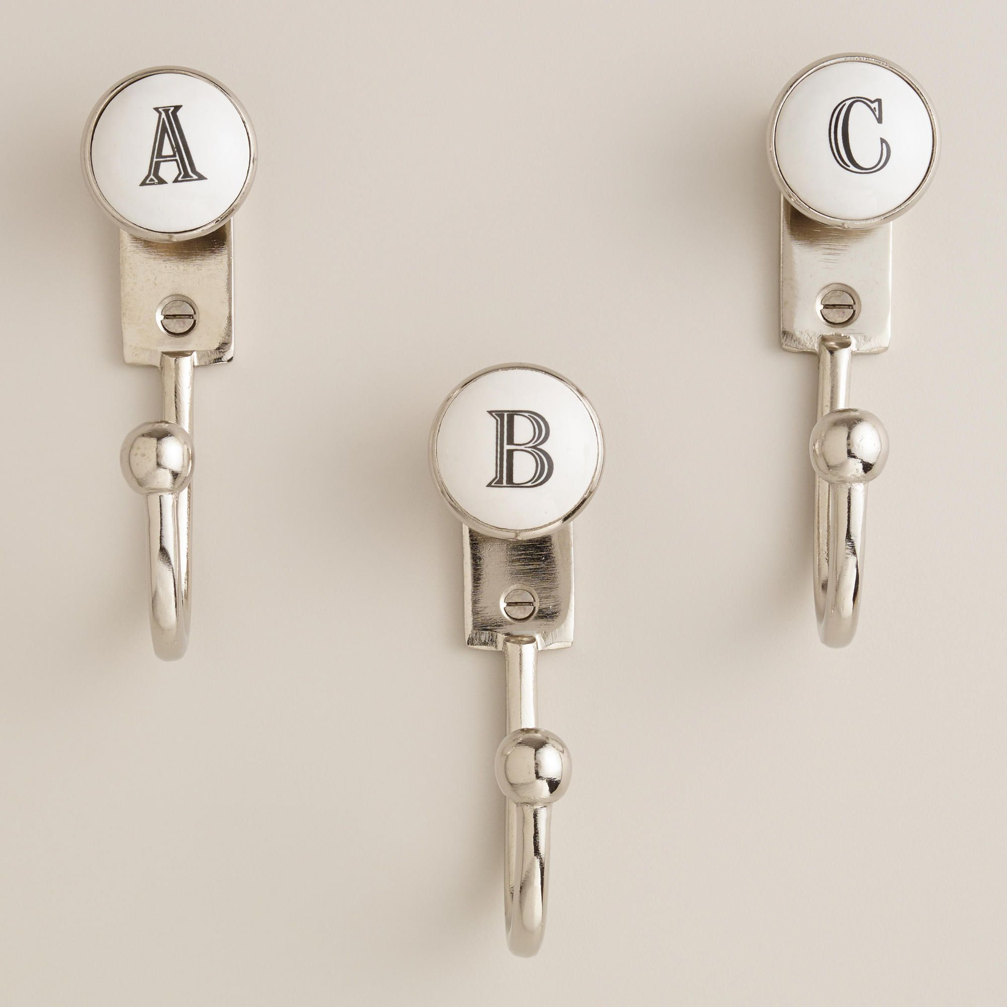monogram letter hooks world market spell e a t for With letter bathroom hooks