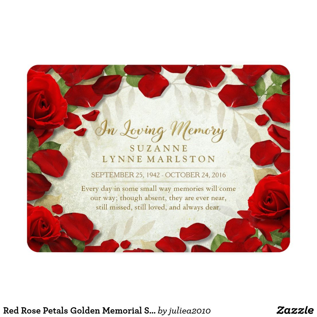 Red Rose Petals Golden Memorial Service Invitation | Funeral ...