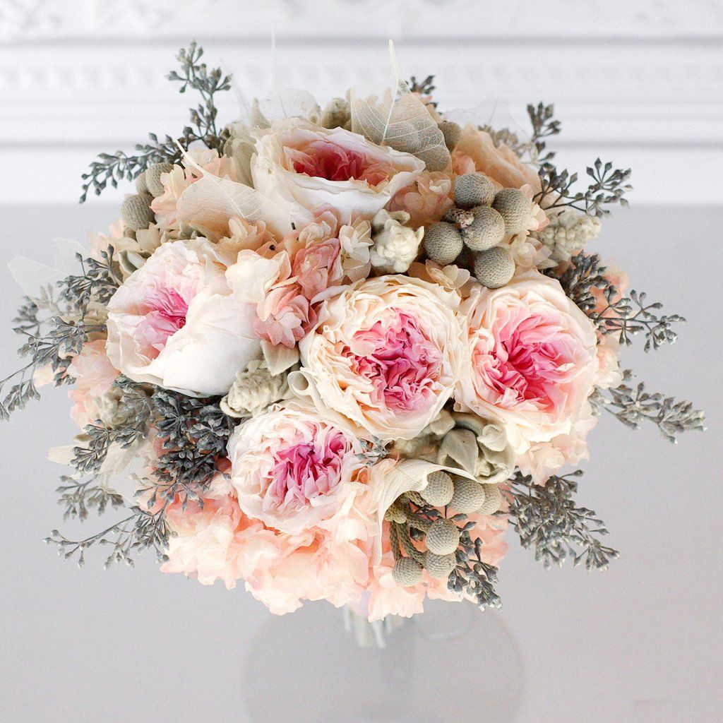 A bridal bridesmaids bouquet with all real preserved flowers that a bridal bridesmaids bouquet with all real preserved flowers that will last for years made with pink and white garden roses blush pink hydrangea izmirmasajfo