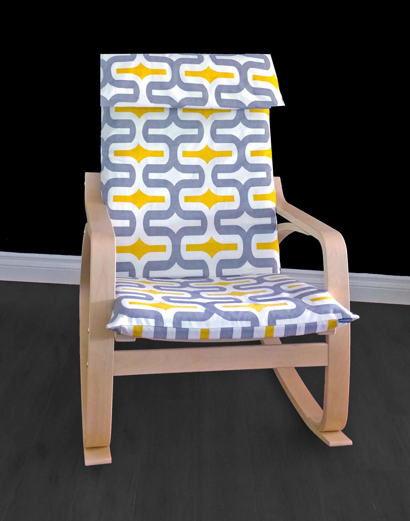Yellow Patterned Poang Seat Cover, Summerhouse Ikea Chair