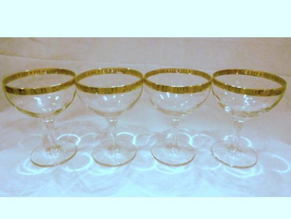 4 Vintage Hollywood Regency  Martini Glasses by trixzstreasures, $18.00