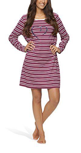 Moonline - Damen Nachthemd kurz Sleepshirt Nachtkleid aus 100 ...