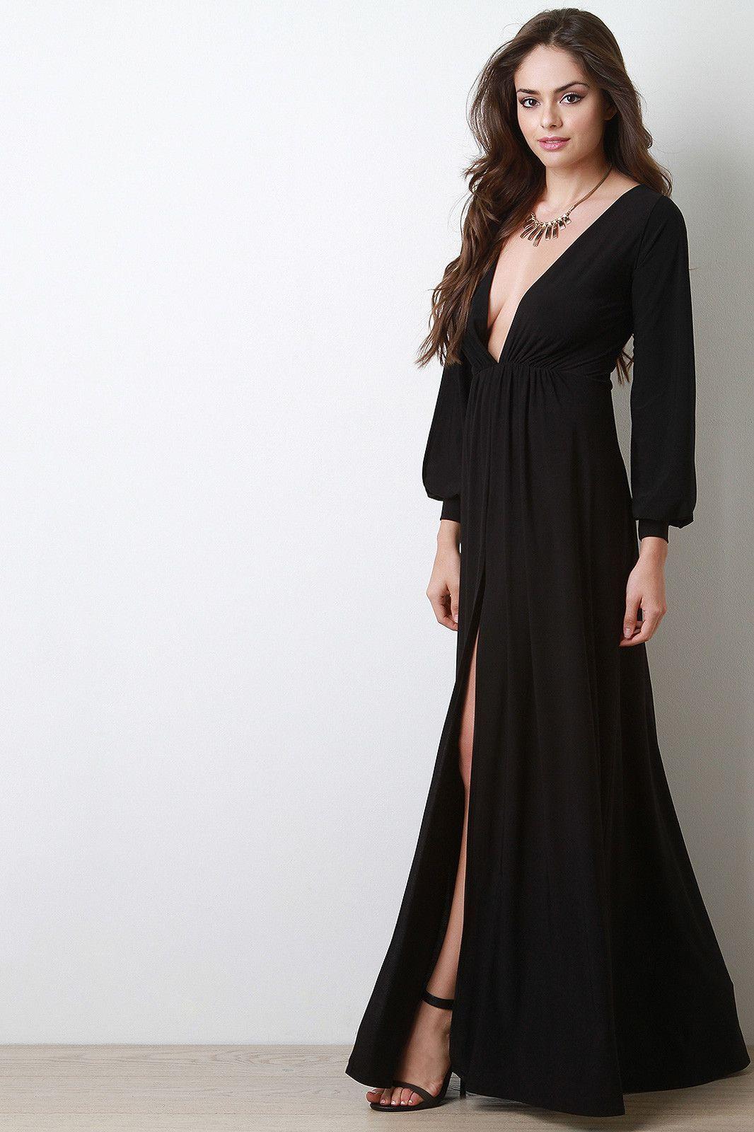 Deep v neck thigh high slit maxi dress maxis v necks and thigh highs