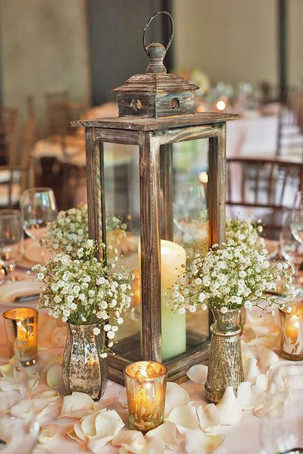 Vintage Lantern Wedding Centerpieces With Candles And Baby S Breath