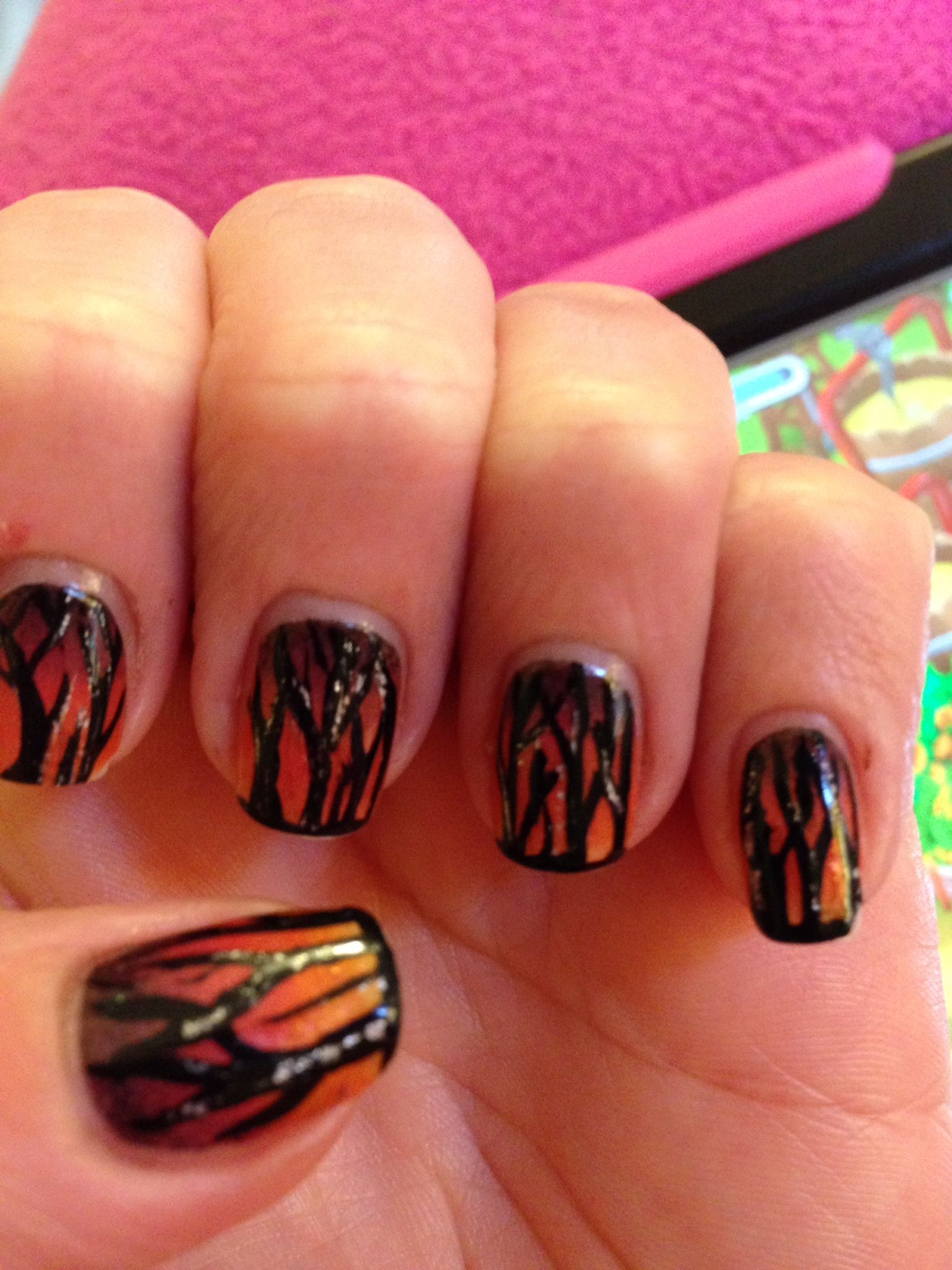 Fall ombré tree nail art | Nails!!! | Pinterest | Tree nail art and ...