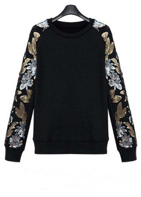 New Arrival Black Flower Print Sweats for Woman | Rosewe.com    #streetstyle