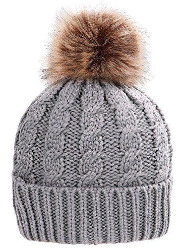 e684c469bc1 New Simplicity Womens Winter Hand Knit Faux Fur Pompoms Beanie Hat.   9.00  - 27.34