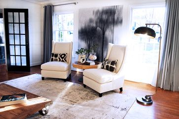 Furniture Layouts Two Chairs In Front Of Windows With Side Table Between The And Large Floor Lamp