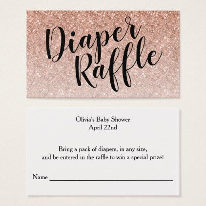 Diaper Raffle Ticket Black Script  Rosegold Business Card