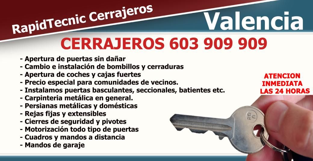 Cerrajeros Valencia 603 909 909: Cerrajeros en Valencia sin intermediarios.