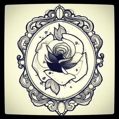rose frame tattoo