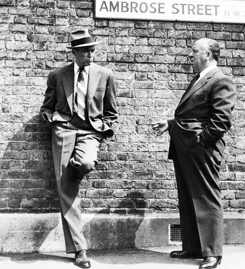 "James Stewart and Alfred Hitchcock during the 1956 remake of ""The Man Who Knew too Much."""